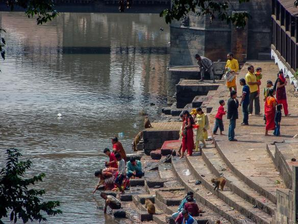steps to the Bagmati from Pashupatinath Temple, one of the Hindu world's five major Shiva shrines