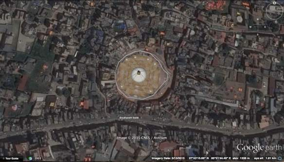 satellite shot of Boudhanath Stupa and Surroundings