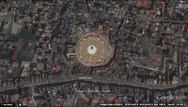 satellite shot of Boudhanath Stupa and Surroundings