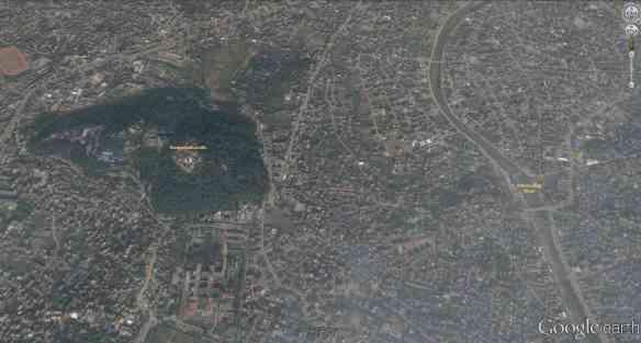 satellite shot of Swayambhunath and sourrounding area of Kathmandu