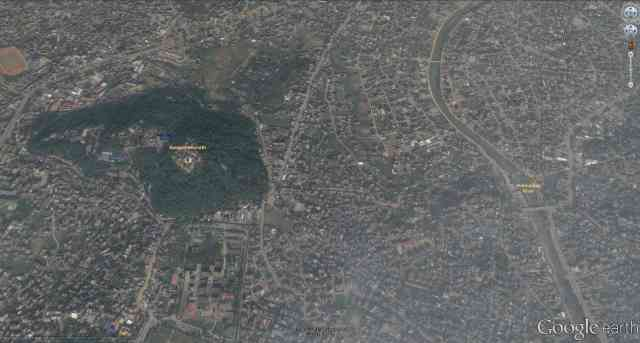 satellite shot of Swayambhunath and sourrounding area of Kathmandu