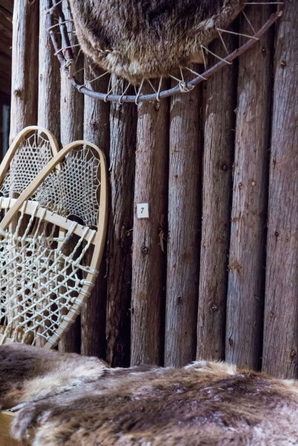 snowshoes and beaver pelts
