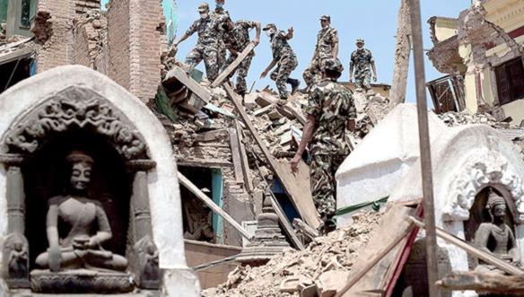 soldiers going through the ruins at Swayambhunath