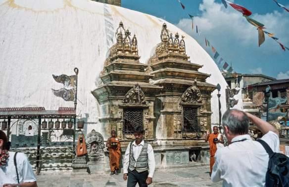 Swayambhu Buddha shrines and prayer wheels