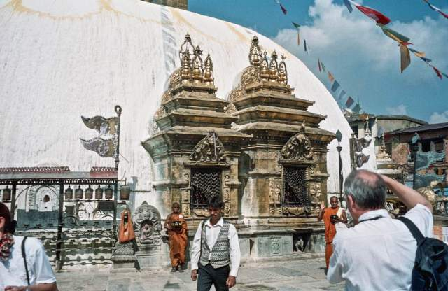 Swayambhu Buddha shrines and prayer wheels