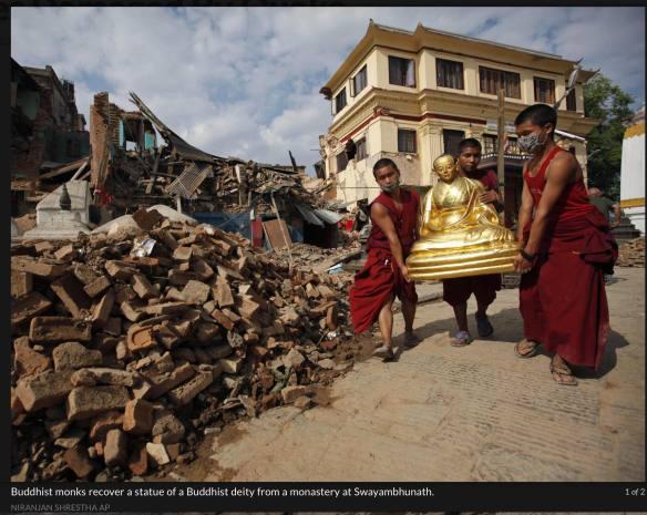 Swayambhu - damage on the top to the Tibetan monastery