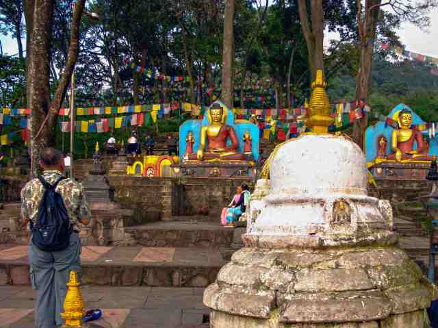 Swayambhunath-  bottom of steps up to the stupa