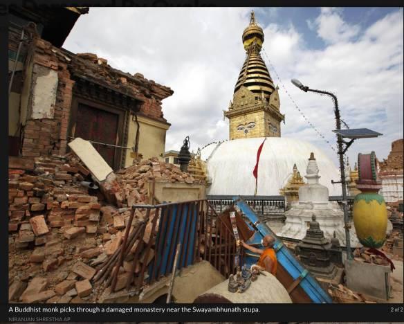 Swayambhunath - damage to shrines and monastery around the stupa
