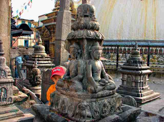 Swayambhunath - statues and shrines around the stupa