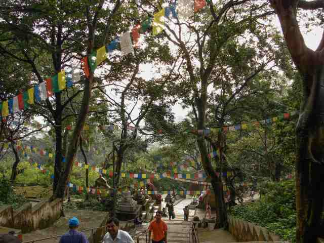 Swayambhunath - the steps up to the top platform