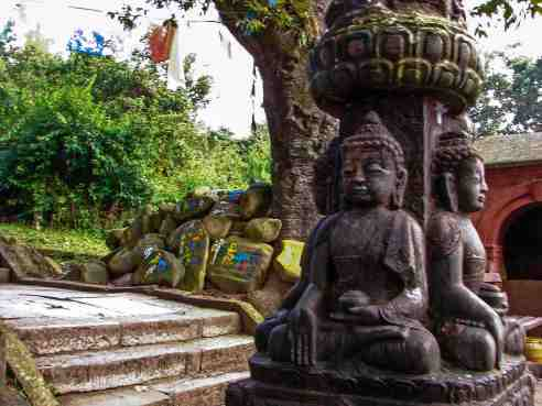Swayambhunath - two seated Buddhas - unusual mudra