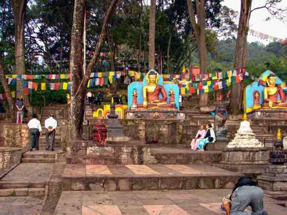 Swayambhunath - worshipper at bottom of steps on the eastern side