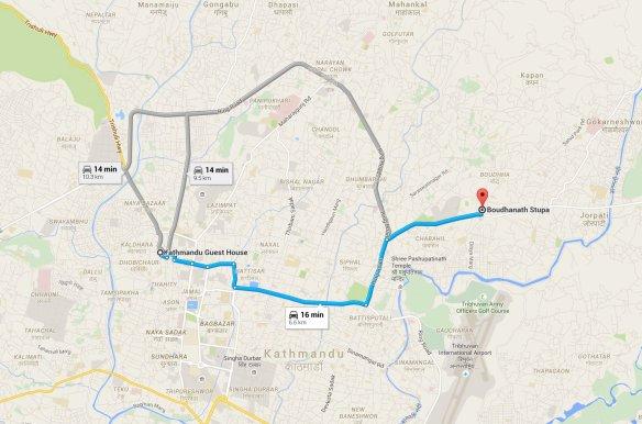The Tuk-Tuk Ride from Thamel to Boudhanath