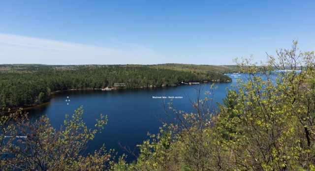 the west side of Mazinaw Lake across from the 1 mile of cliff face