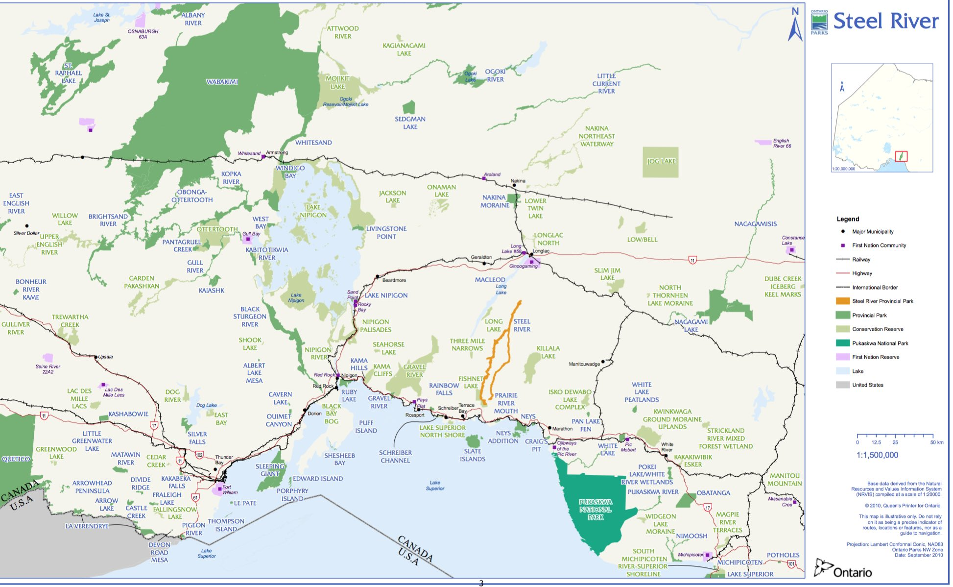 Provincial Parks Ontario Map Canoeing Ontario's Steel River System: Introduction, Maps