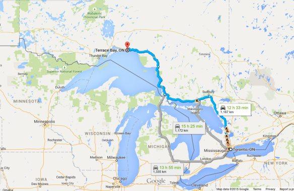 Toronto - Terrace Bay route