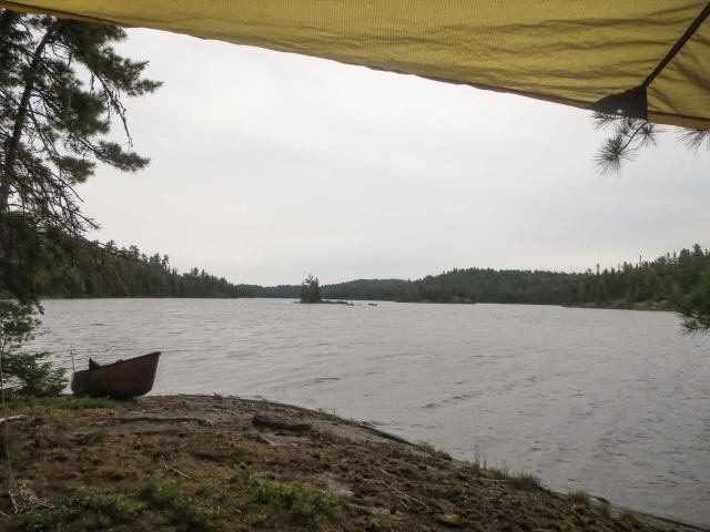 lunch spot under the tarp on Lady Evelyn Lake