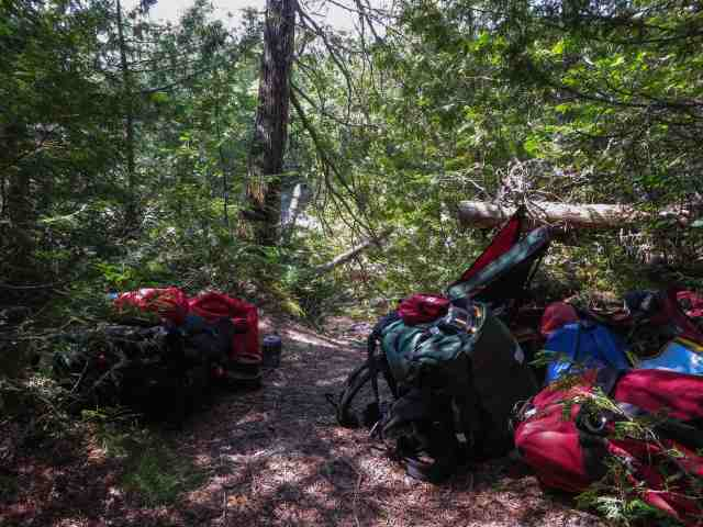 our gear at the end of the third Steel logjam portage