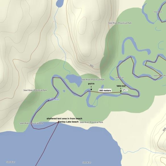 SP17 - final logjam before Santoy Lake -360 meter portage