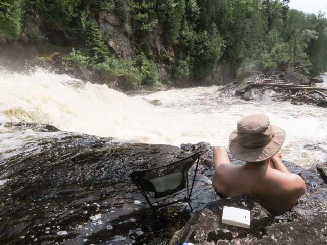 a rest day at Rainbow Falls on the Steel River above Lake Superior