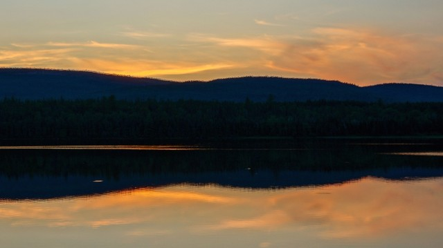 sunset over Temagami's Maple Mountain ridge
