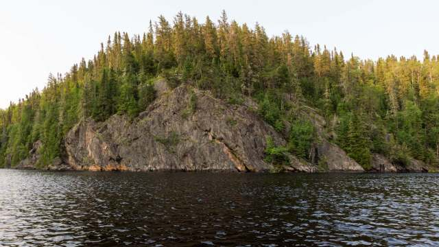 the rock face across from our Steel River camp site