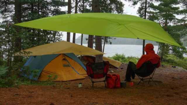 both tarps up at the Sharp Rock Island campsite