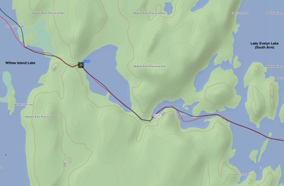 the two portages from Lady evelyn Lake (South Arm) to Willow Island Lake (Lady Evelyn River system)