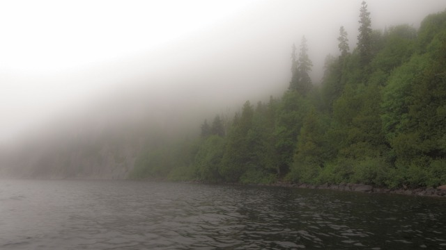 west shore of Santoy Lake in the mist