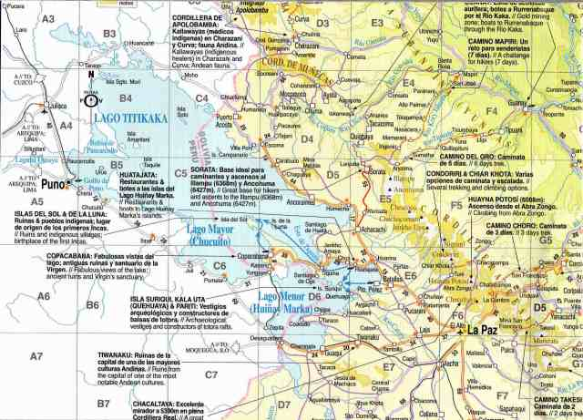 Bolivia Map from Lake Titicaca to the Cordillera Real - Things To See and do