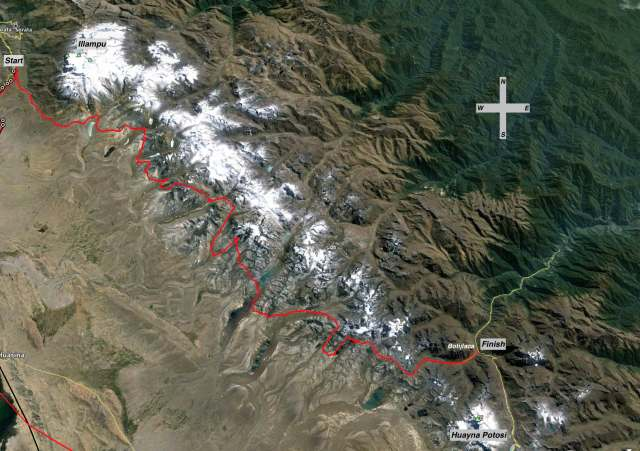 Cordillera Real Trek Route - west side
