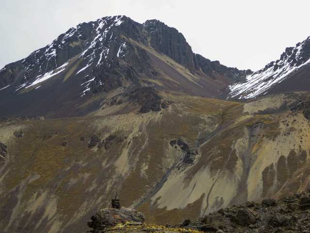 a look back at Pico Austria, the col, and the path down to Chiar Khota