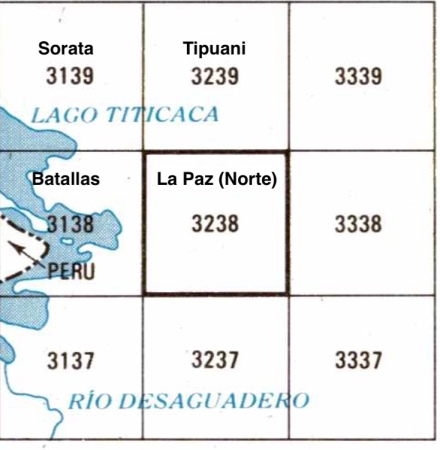 Bolivia - topo index for Cordillera Real Norte