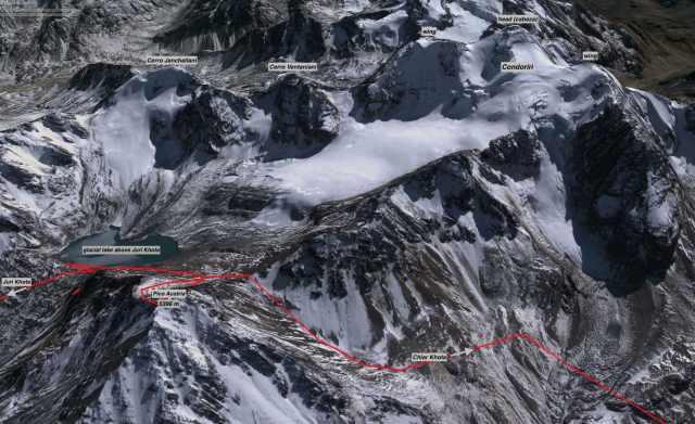 Condoriri Peaks and route from Suri Khota