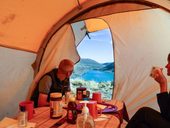 dining tent with a view - tea time above Lago San Francisco