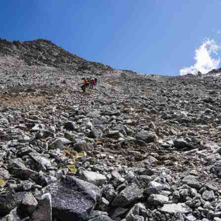down the scree slopes to the Jayllawaya valley floor
