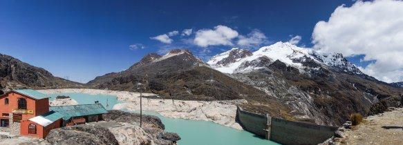 Huayna Potosi and the refugio and dam
