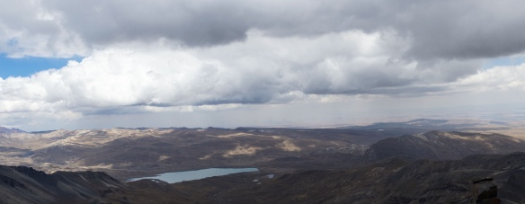 looking south to the Altiplano and a small lake
