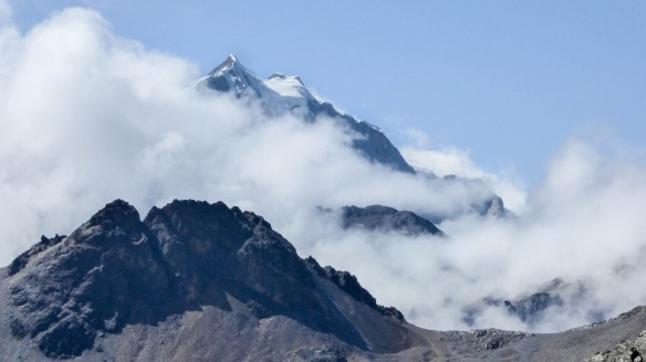 Huayna Potosi wrapped in cloud - our best view
