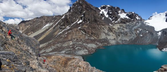 panorama of the glacial lake and path above it