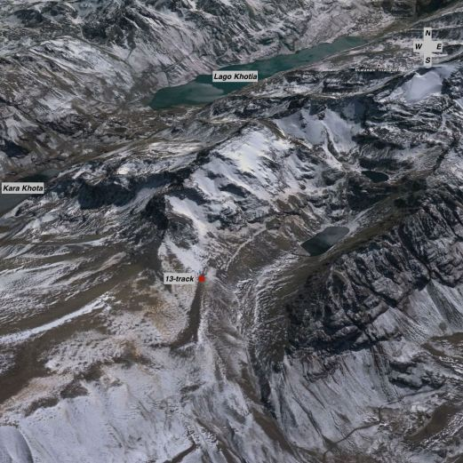 satellite view of the above shot - a nameles glacial puddle