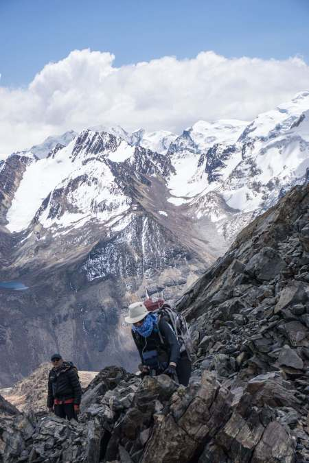 scramble to the top of a Cordillera Real trekking peak