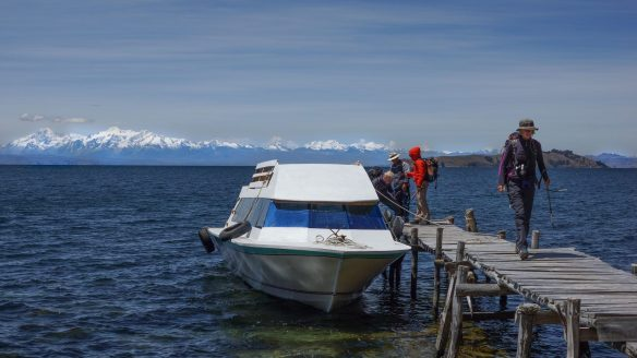 The Cordillera Real from a dock at Isla del Sol on Lake Titicaca