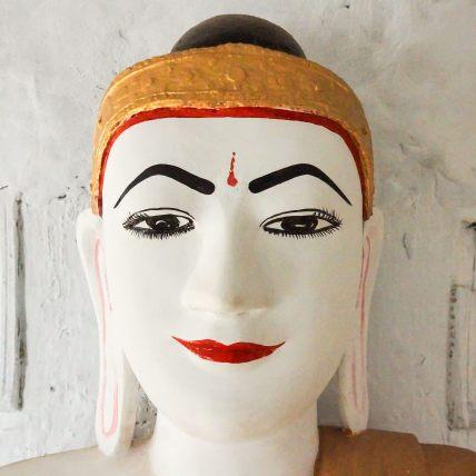 a Buddha head close up at Shwegugale Pagoda