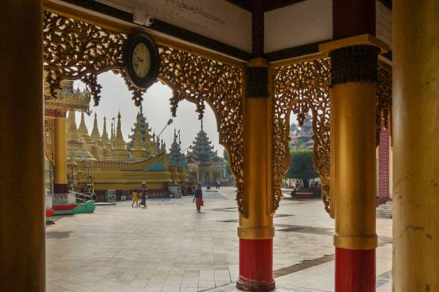 a view of the Shwemawdaw terrace from one of the pavilions