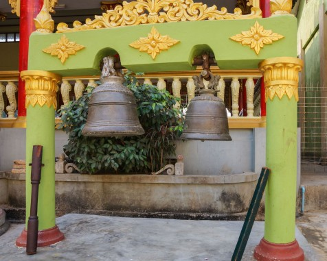 bells and sticks at Shwemawdaw pagoda