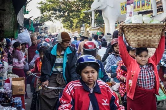 crowded street in Cho Zay's market area