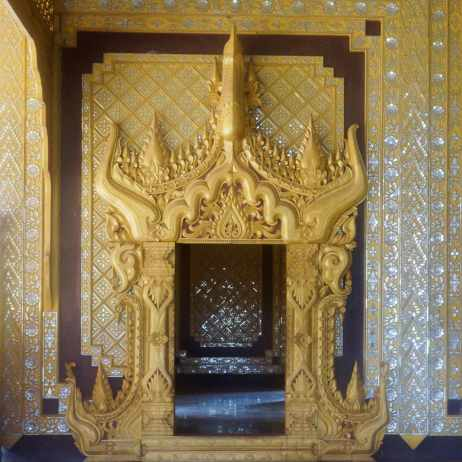 elaborate doorway trim at The Bee Throne Hall in Bago