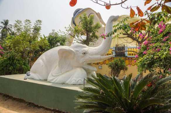 elephant statue on the edge of the Mya Tha Lyaung Reclining Buddha site