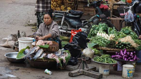 fish seller and her goods
